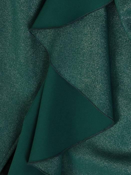 Sukienka wyjściowa, zielona kreacja z ozdobnymi falbanami 27756