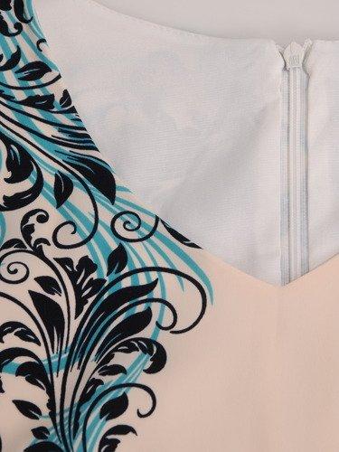 Sukienka wyszczuplająca Astrida II, wiosenna kreacja z kontrastowym nadrukiem.