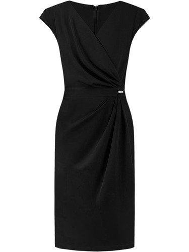 Sukienka wyszczuplająca talię Ormina III, czarna kreacja kopertowa.