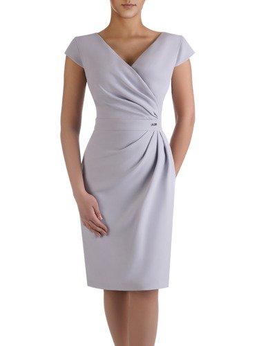 Sukienka wyszczuplająca talię Ormina V, popielata kreacja kopertowa.