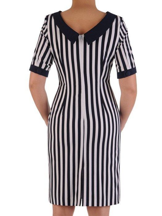 Sukienka wyszczuplająca, wiosenna kreacja w paski 19545.