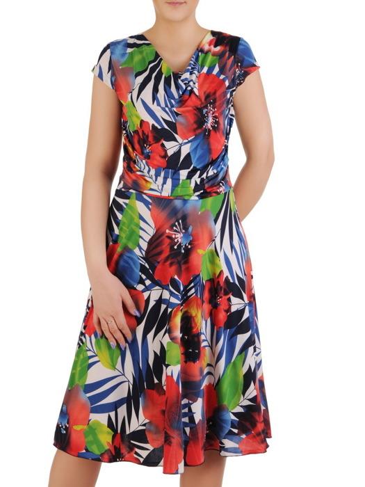 """Sukienka z dzianiny, elastyczna kreacja z dekoltem typu """"woda"""" 20513."""