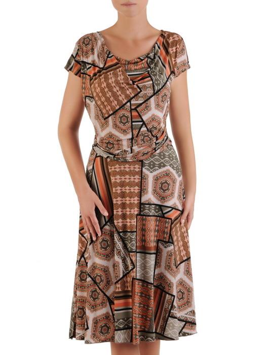 """Sukienka z dzianiny, elastyczna kreacja z dekoltem typu """"woda"""" 21449."""
