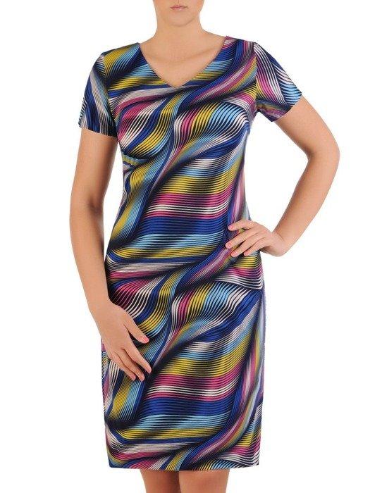 Sukienka z dzianiny, prosta kreacja w oryginalnym wzorze 26206