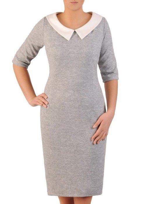 Sukienka z dzianiny, wyszczuplająca kreacja z kołnierzem 24146