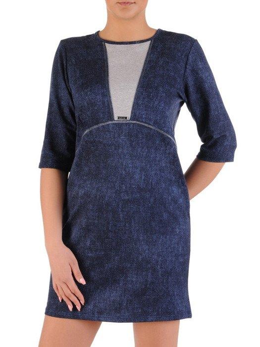 Sukienka z granatowej dzianiny, kreacja z kontrastową wstawką 20088