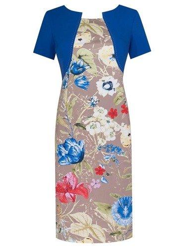 Sukienka z imitacją bolerka Fiona I, wiosenna kreacja w kwiaty