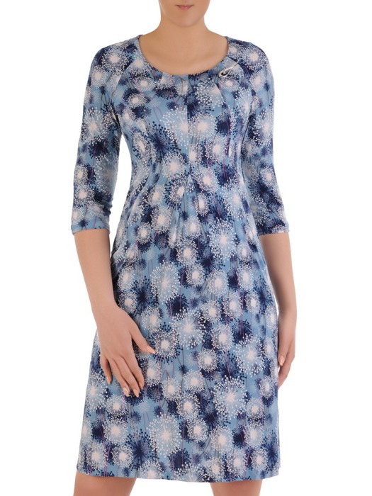 Sukienka z kieszeniami, luźna kreacja z dzianiny 20775.