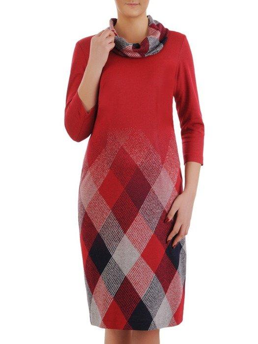 Sukienka z kominem Krystyna II, jesienna kreacja z bawełny.