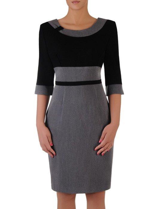 Sukienka z kontrastowymi wstawkami Rosa I, efektowna kreacja wyjściowa.