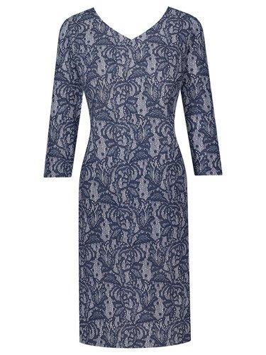 Sukienka z oryginalnej dzianiny Astrit, kreacja w klasycznym fasonie.