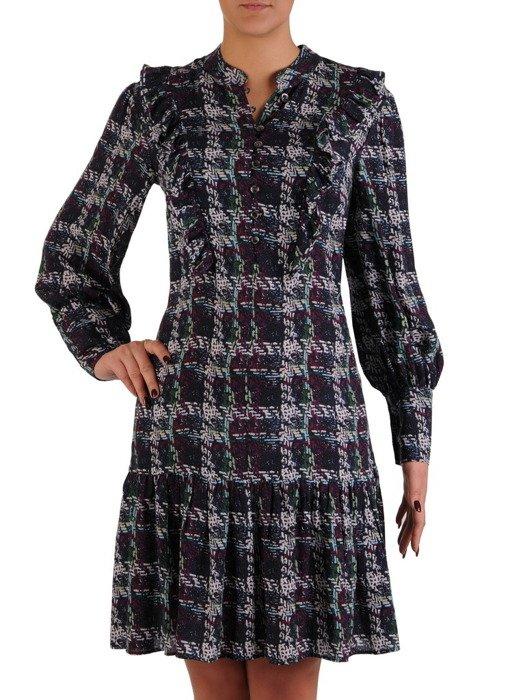 Sukienka z ozdobną stójką i bufiastymi rękawami 18558.