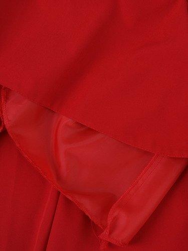 Sukienka z ozdobnym dekoltem Alika II, czerwona kreacja wizytowa.