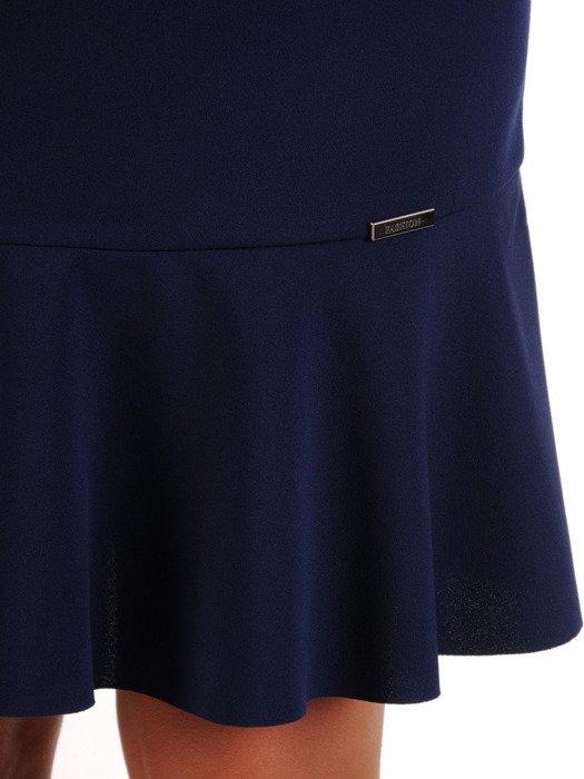 Sukienka z ozdobnymi kółkami, modna kreacja w kolorze granatowym 23226