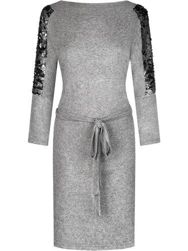 Sukienka z ozdobnymi rękawami Oliwia II, kreacja z dzianinowym paskiem.