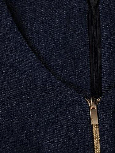 Sukienka z ozdobnymi zamkami Emilia XI, piękna kreacja z dżinsu.