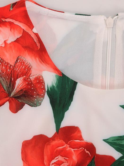 Sukienka z paskiem, zwiewna kreacja w kwiaty 21279.
