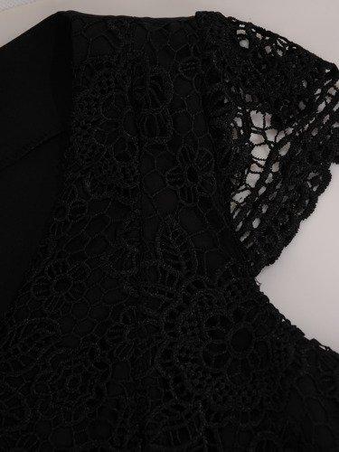 Sukienka z podwójną baskinką, elegancka kreacja wizytowa 16730