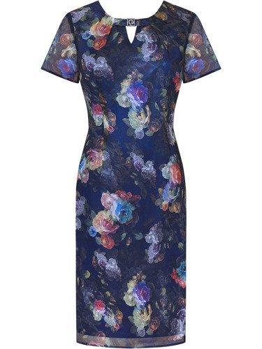 Sukienka z szyfonu Kimberli, zwiewna kreacja w kwiaty.