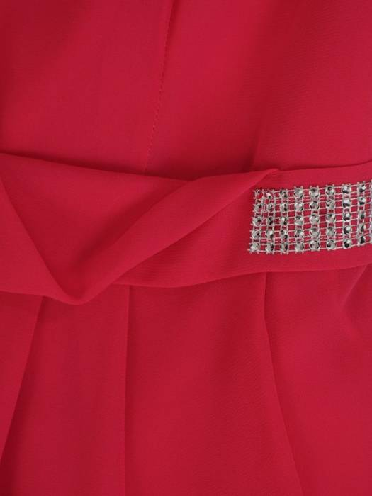 Sukienka z szyfonu, amarantowa kreacja w rozkloszowanym fasonie 29243