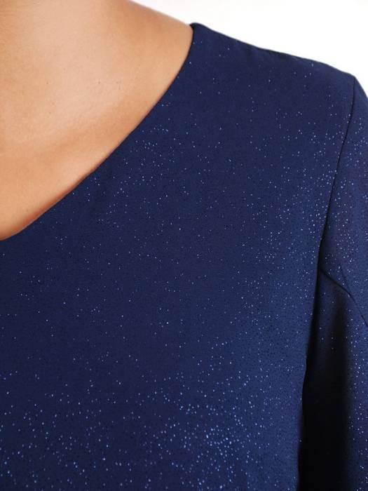 Sukienka z szyfonu, granatowa kreacja w luźnym fasonie 26936
