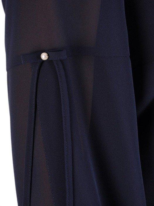 Sukienka z szyfonu, granatowa kreacja z ozdobnymi rękawami 23318