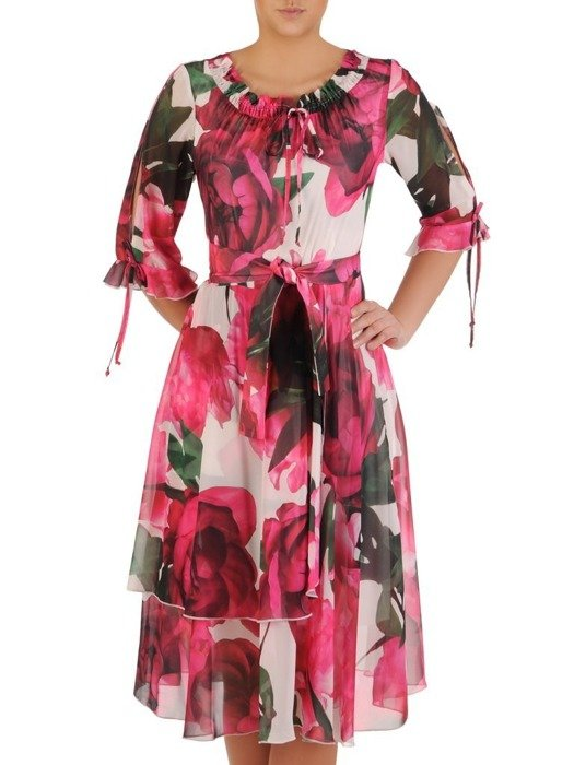 Sukienka z szyfonu, luźna kreacja z falbanami 24788
