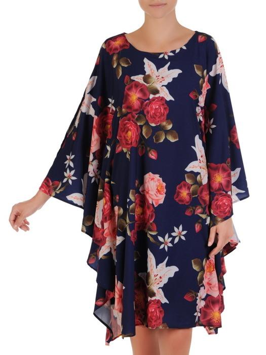 Sukienka z szyfonu, nowoczesna kreacja w fasonie maskującym brzuch 21581.