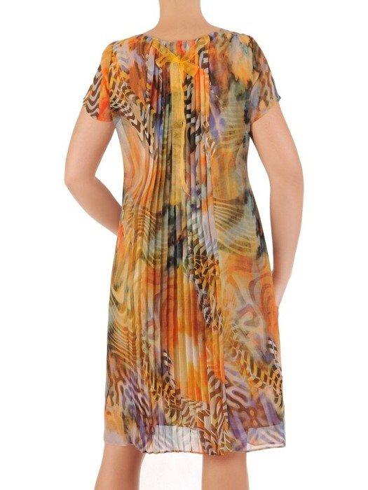 Sukienka z szyfonu, prosta kreacja w modnym wzorze 26649