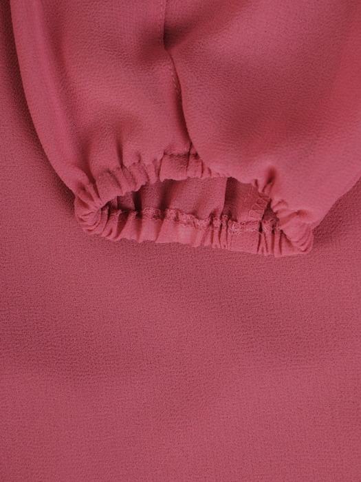 Sukienka z szyfonu, wrzosowa kreacja z ozdobnymi rękawami 22119.