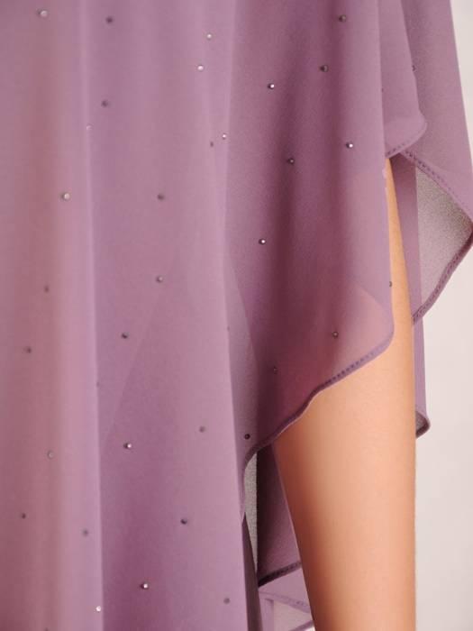 Sukienka z szyfonu wykończona dżetami, nowoczesna kreacja z narzutką 30475