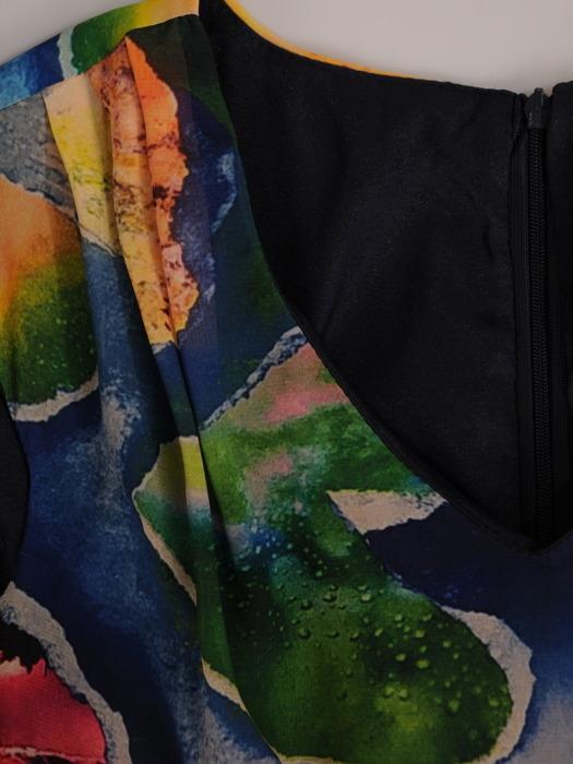 Sukienka z szyfonu, zwiewna kreacja w długości midi 21512.
