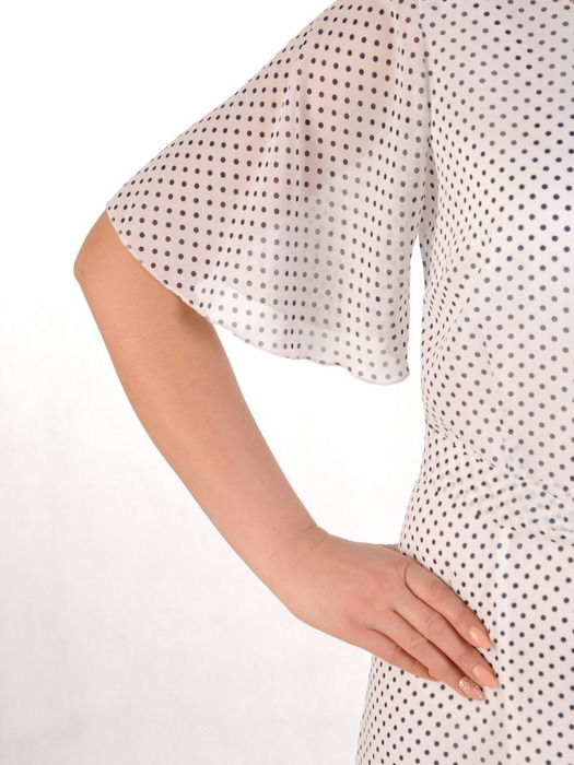 Sukienka z szyfonu, zwiewna kreacja w groszki 20632.