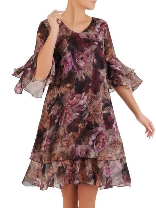 Sukienka z szyfonu, zwiewna kreacja w kwiaty 27943