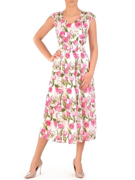 Sukienka z tkaniny, bawełniana kreacja w kwiaty 29776
