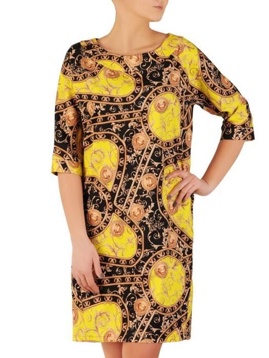 Sukienka z tkaniny, kreacja z kieszeniami 28730