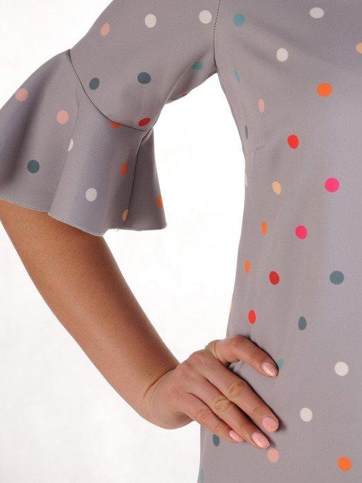 Sukienka z tkaniny, luźna kreacja w groszki 19948.
