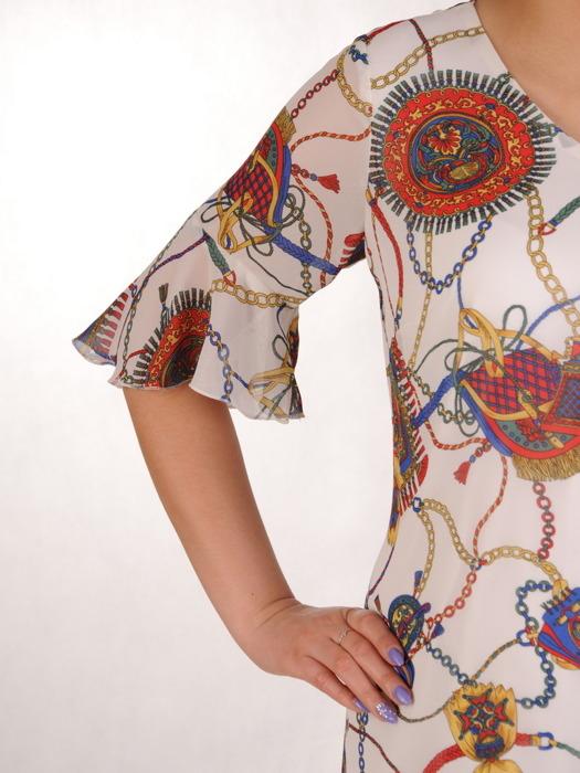 Sukienka z tkaniny, luźna kreacja w oryginalne wzory 20474.