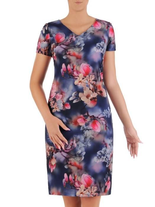 Sukienka z tkaniny, prosta kreacja w oryginalnym wzorze 26487