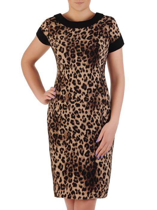 Sukienka z tkaniny, prosta panterka z kontrastowymi wstawkami 20547.