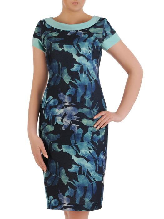Sukienka z tkaniny, wiosenna kreacja w prostym fasonie 20859.