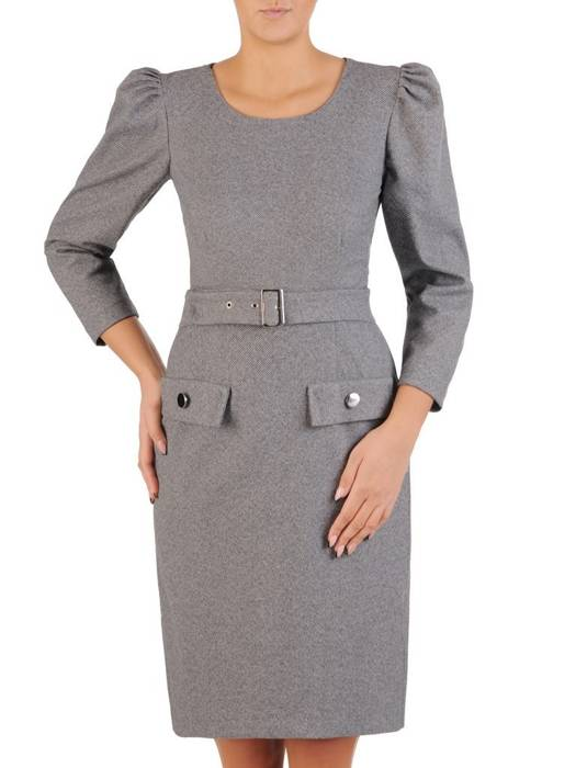 Sukienka z wełny, modny fason z paskiem 27478
