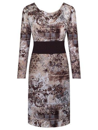 Sukienka z wyszczuplającym pasem Pegi II, dzianinowa kreacja z modnym dekoltem.