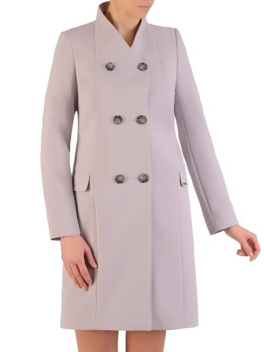 Szary płaszcz damski z dwurzędowym zapięciem 28529