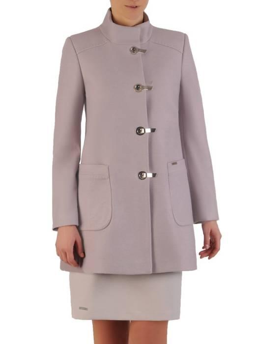 Szary płaszcz damski z ozdobnym zapięciem 28538