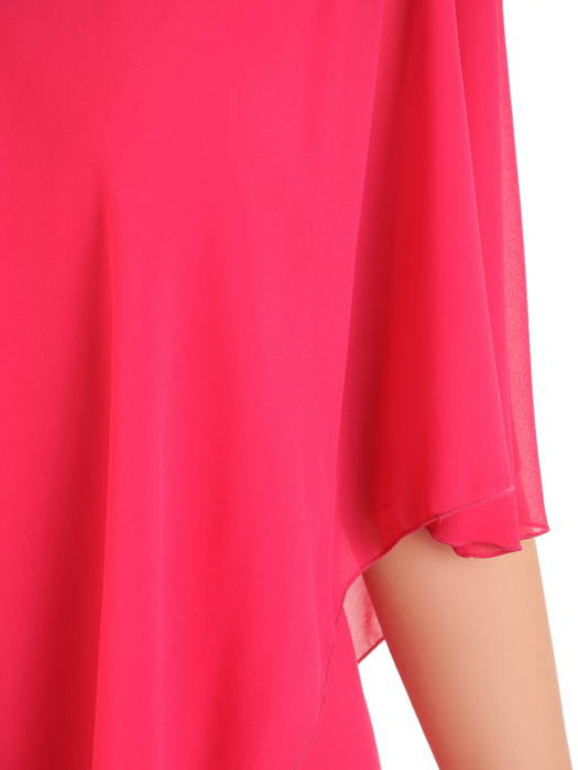 Szyfonowa, amarantowa sukienka maskująca niedoskonałości 31264