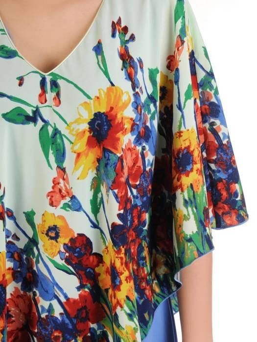 Szyfonowa, niebieska sukienka maskująca niedoskonałości 29788
