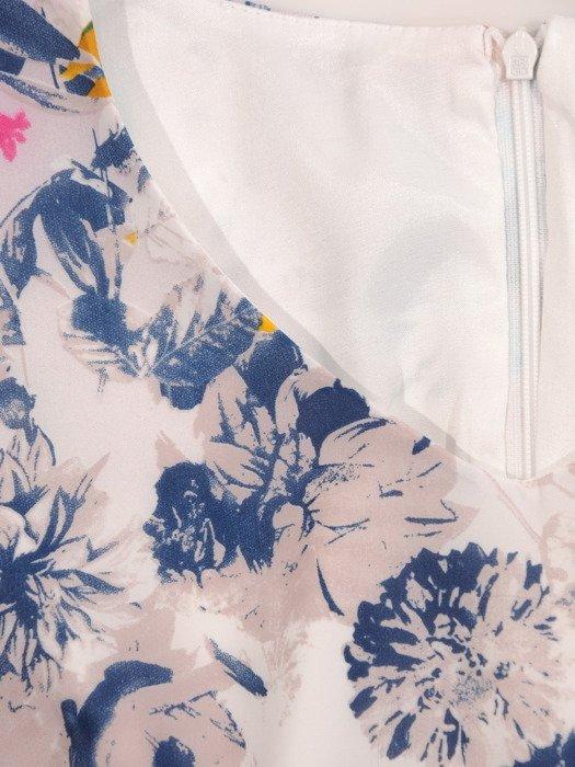 Szyfonowa sukienka Luiza I, kreacja wizytowa w kwiatowy deseń.