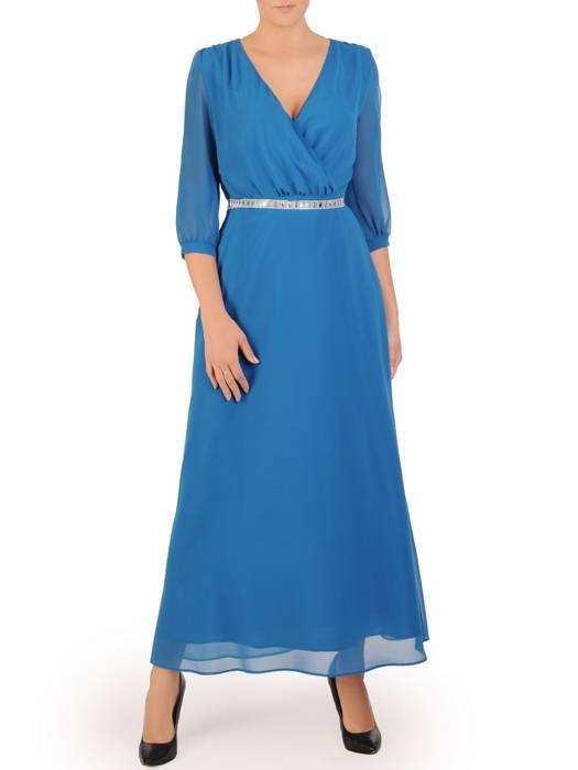 Szyfonowa sukienka maxi, morska kreacja z ozdobnym paskiem 30707