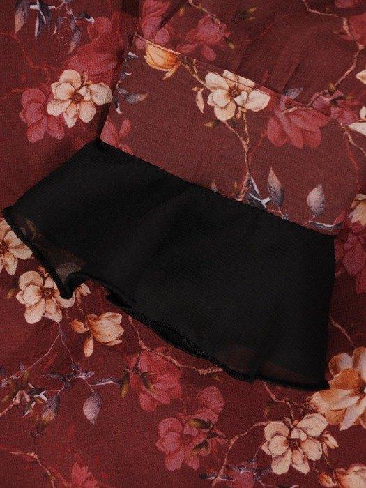 Szyfonowa sukienka o trapezowym kroju, kreacja z oryginalnym nadrukiem 23992